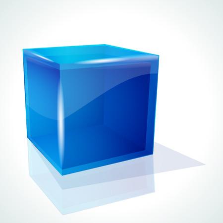 specular:  cubo azul sobre fondo blanco  Vectores
