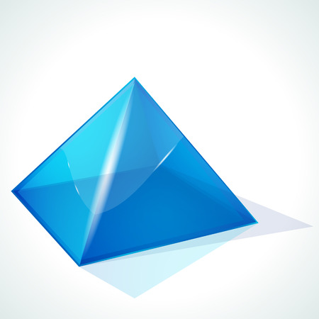 paperweight:  blue pyramid on white background  Illustration
