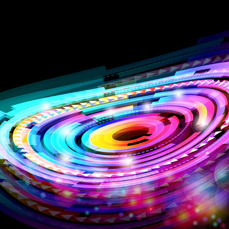 Abstract neon technology circles   background. Vector