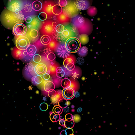 fireworks on white background: Abstract Circles and Snowflakes of llight with Raibow Colours Background