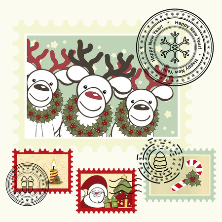 Series of stylized Christmas post stamps. Stock Vector - 8229826