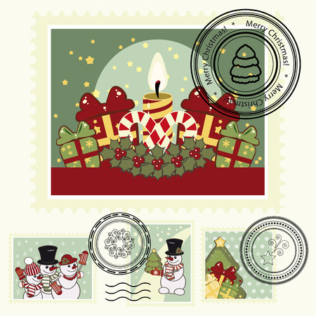 Series of stylized Christmas post stamps. Vector