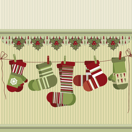 Retro Christmas background with socks and mittens. Vector Illustration