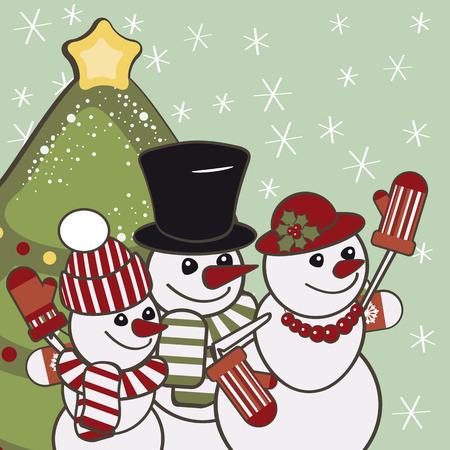 Retro Christmas card with a family of snowmen. Vector