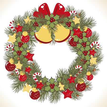 campanillas: Imagen de vector de corona de Navidad