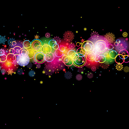 Abstract Circles and Snowflakes of llight with Raibow Colours Background Vector