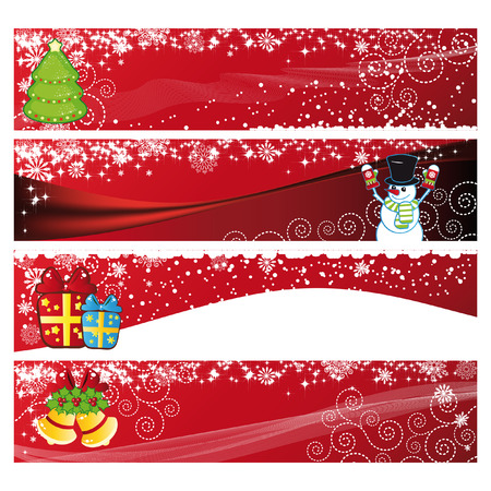 festive season: Vector Christmas Horizontal Banner  Illustration
