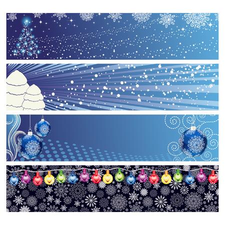 blue lights: Vector Christmas Horizontal Banner  Illustration