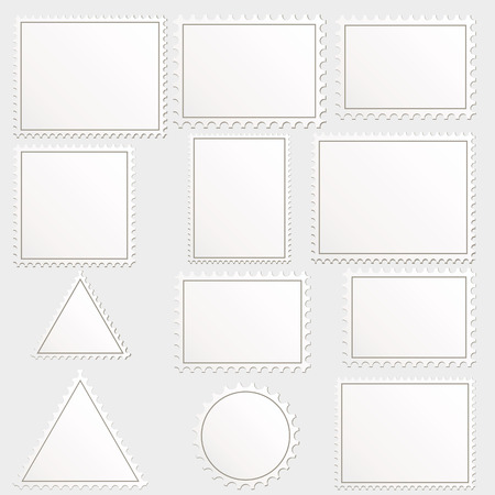 philately: Vector big set of blank postage stamps different geometric shapes.  Illustration
