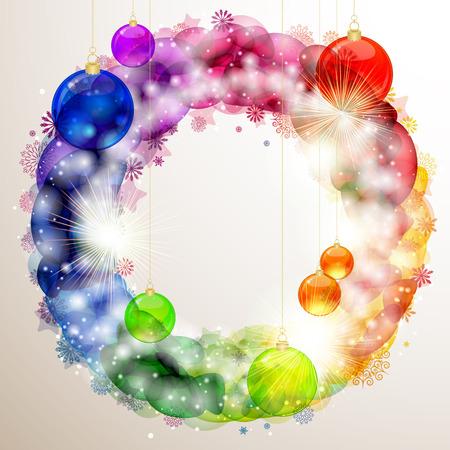 snow wreath: Christmas billboard. vector image.