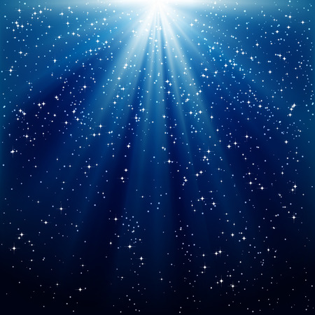Snow and stars are falling on the background of blue luminous rays Vector