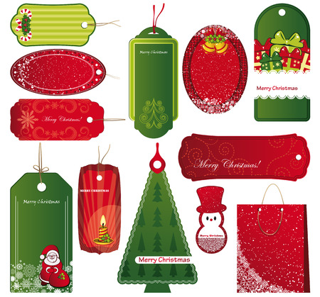 Twelve Sets of Christmas tags. Vector