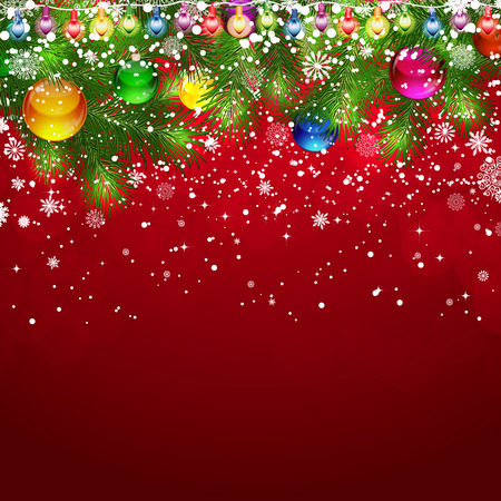 Christmas background with snow-covered branches of Christmas tree, decorated with garlands and balloons. Vector