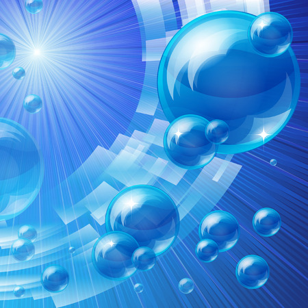 spume: Blue bubbles background, vector image Illustration