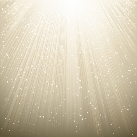 Snow and stars are falling on the background of silver luminous rays Vector