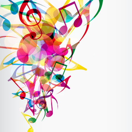 Abstract musical background with bright flying up notes and other musical signs.