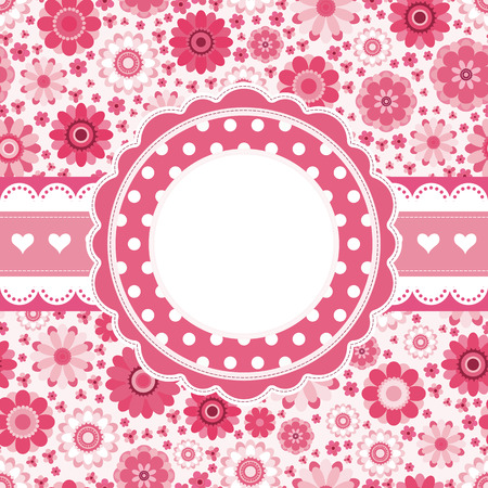 Pink retro card with floral pattern. Seamless background. Vector