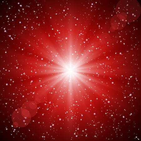 Abstract red background of luminous rays and stars. Stock Vector - 8450977