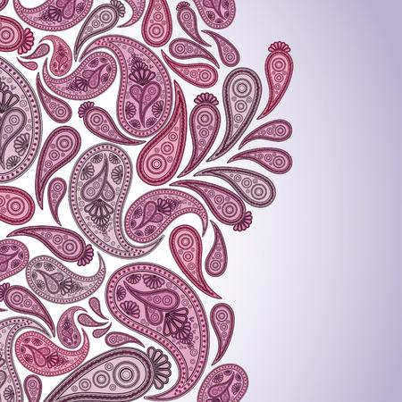 disegno cachemire: Paisley Oriental decor sfondo. Illustrazione vettoriale. Vettoriali