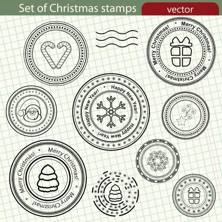 Conjunto de sellos de Navidad Ilustración de vector