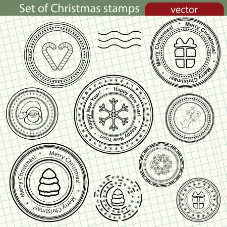 Set of Christmas stamps Vector
