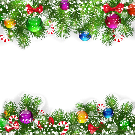 Christmas background with decorated branches of Christmas tree. Stock Vector - 8481949
