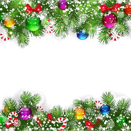 slingers: Kerst achtergrond met versierde kerst boom takken. Stock Illustratie