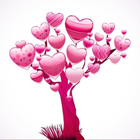 Prachtige boom met een kroon van glanzende harten. Vectorillustratie. Stock Illustratie