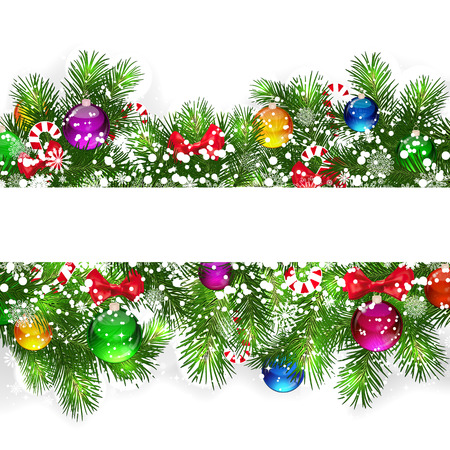 Christmas background with snow-covered branches of Christmas tree, decorated with candies and balloons. Vector