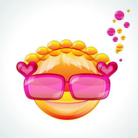 Girl in pink sunglasses, vector image Vector