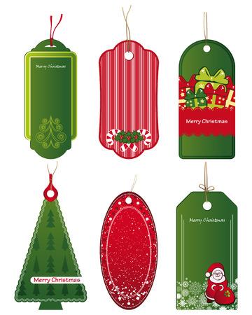 Bright Christmas tags. Vector