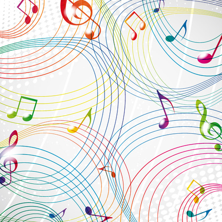 Colourful music note on a grey background eps10. Vector