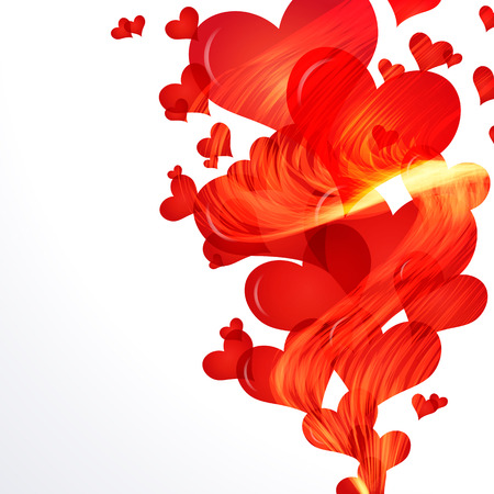 Flaming hearts fly up,  side vector border. Illustration