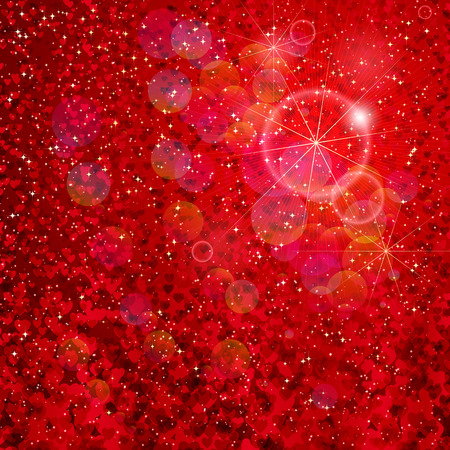 Hearts and stars falling on the shiny red background. Vector