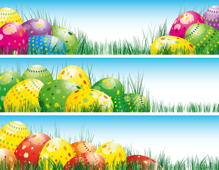 easter eggs: Easter banners with colorful Easter eggs in the young green grass. Illustration