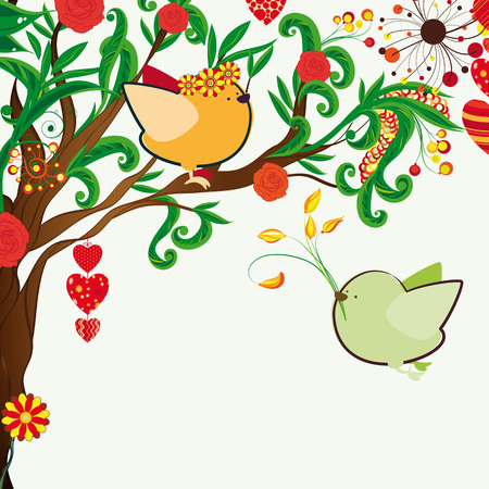 Floral spring background. Couple of birdies on the bloosom fantastic tree. Vector