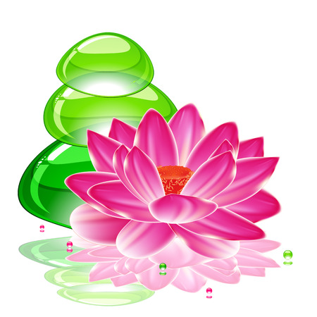 spa background with a lotus flower and transparent green stones.