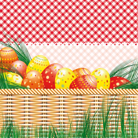 Easter background with eggs and picnic motives. Vector
