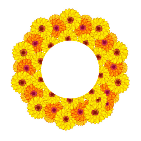 dahlia: sunny flowers. Gradient meshes.
