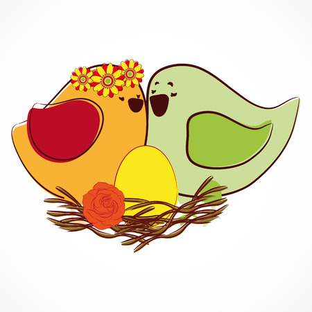 Couple of birdies. Stock Vector - 8806080