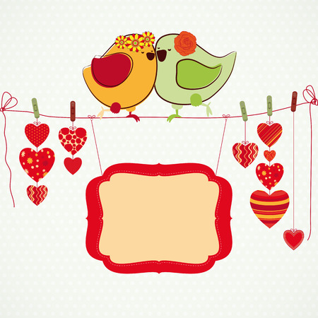 marriage cartoon: Couple of birdies, hearts on the clothespin and a banner for your text.