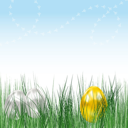 Background with eggs and chicken tracks. Vector image. Stock Vector - 8984304