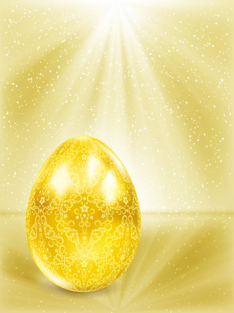 Golden egg in the rays. Stock Vector - 8986002