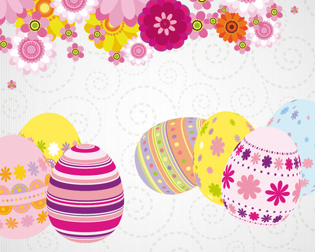 Easter greeting card with eggs. Vector