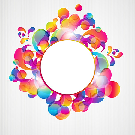 Abstract background with bright circles and teardrop-shaped arches. Vector