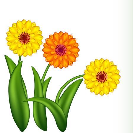 Vektor-Illustration der sonnigen Blumen. Verlaufsgitter.