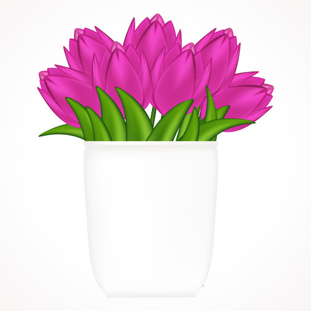 Vector illustration of bright tulips. Gradient meshes. Illustration