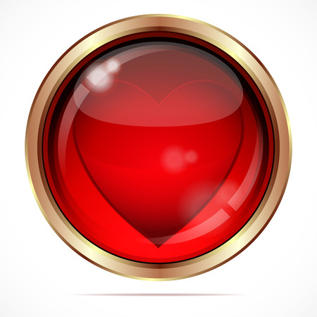 brads: Bright button with a red heart. Illustration