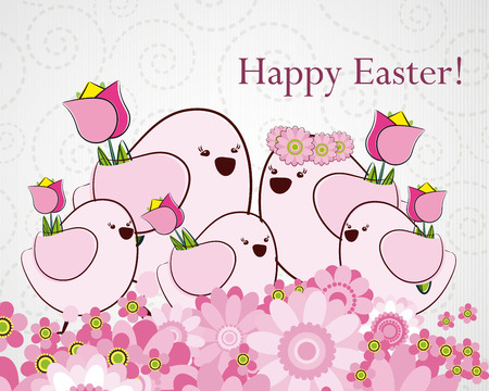 Easter greeting card with birds. Illustration