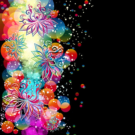 Abstract floral background with oriental flowers. Vector